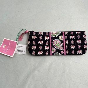 Vera Bradley pink elephant brush/pencil bag